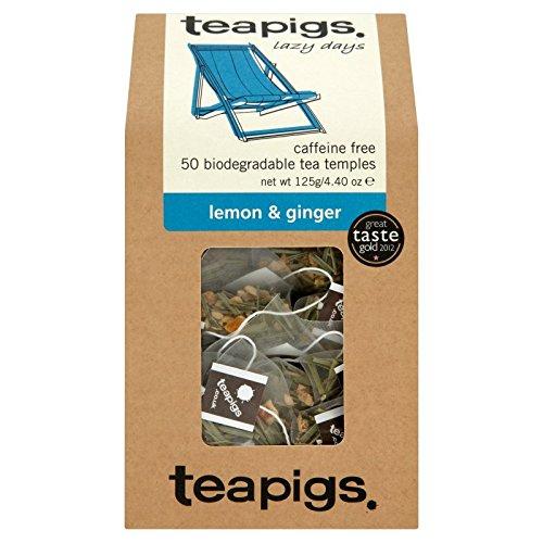 teapigs Lemon and Ginger Tea, 50 Count, 4.4 OZ