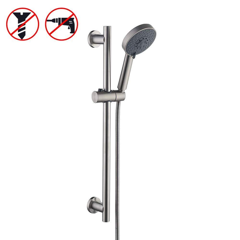KES Slide Bar with Handheld Shower Head Hand Shower Hose Holder Adjustable 5-Function Massaging Sprayer Brushed Finish, F204DG-BS+KP501B-BN