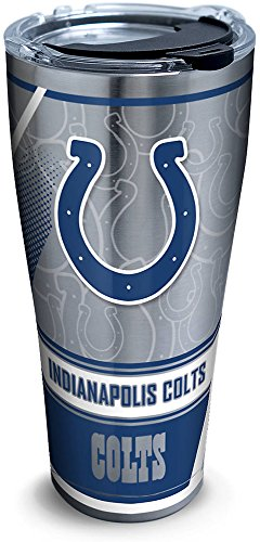 Indianapolis Colts Edge - Tervis 1266047 NFL Indianapolis Colts Edge Stainless Steel Tumbler with Clear and Black Hammer Lid 30oz, Silver