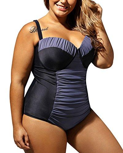 Minetom Women One Piece Swimwear Monokini Bikini Swimming Costume Padded Up Bra Swimsuit Beachwear Bikini Bathing Suit Plus Size Blue US 12