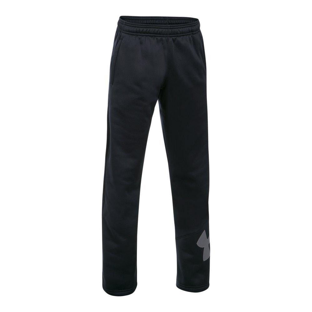 Under Armour Boys' Armour Fleece Big Logo Pants,Black (001)/Graphite, Youth Large