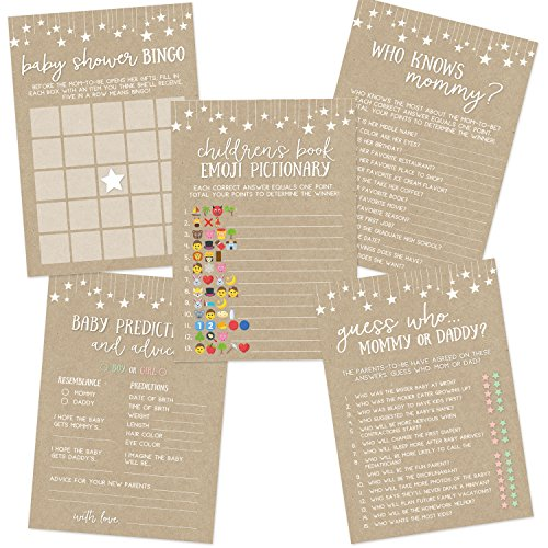 Kraft Baby Shower Game Set, Contains 5 Games, 50 Sheets Each, Fun Baby Shower Games and Activities, Includes Baby Prediction and Advice, Emoji, Bingo, Who Knows Mommy, and Guess Who Games -