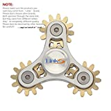 New design Finger Spinner ,LinkS Super Cool 3 Bearing Gear Linkage Hand Tri- Spinner Fidget Toy, Copper- Aluminum Alloy with Metal Bearing ADHD Focus Anxiety Relief Toys.