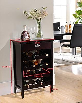 Kings Brand Dark Cherry Finish Wood Buffet Wine Rack Cabinet with Drawer