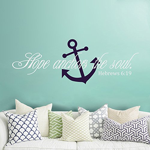 Hebrews 6:19 Vinyl Wall Decal Hope Anchors The Soul Scripture Wall Decal For Bedroom Living Room (White+Navy blue,xs)