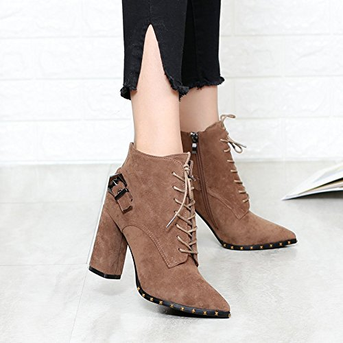 KHSKX-Rivets Women'S Shoes Pointed Lace Frosted Skin Heel British Wind High-Heeled Shoes Short Boots Women'S Shoes 37 red bean paste rMnqng