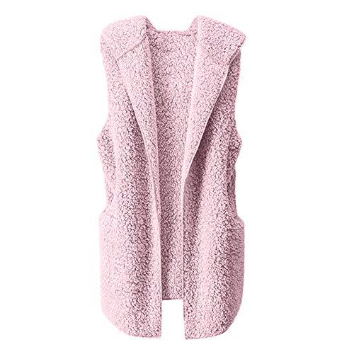 Open Fashion Girls Ladies Faux Knitwear Sale Womens Waterfall Casual Vest Jacket Fit Overcoat Sleeveless Winter Jacket Outwear Drape Front Knitwear Fur Clearance Cardigans Pink Waistcoat Teen Coat Slim AgqgTY