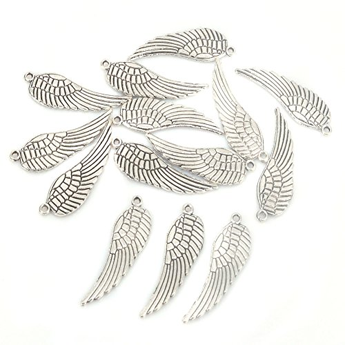 Feather Silver Beads - Aprilsky 30 pcs Tibetan Silver Plume Feathers Spacer Charms Beads Jewelry Making Fingdings