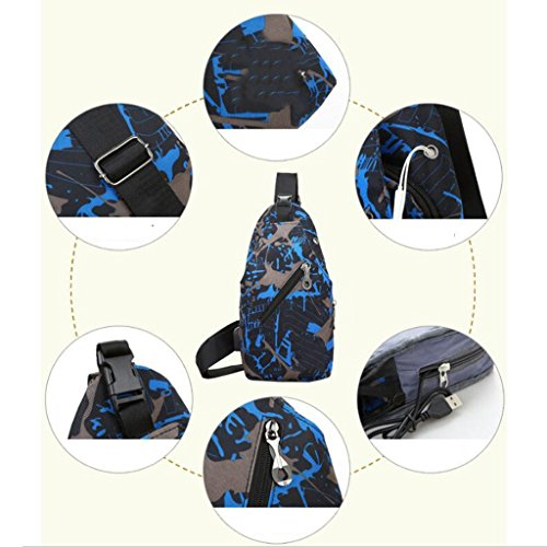 Umhängetasche USB Lade Tasche Herren Brusttasche Schulter Camouflage Outdoor Freizeit Hand tragen Slung Sport (Größe: 15 * 5 * 30cm) (Farbe : Blau) Blau