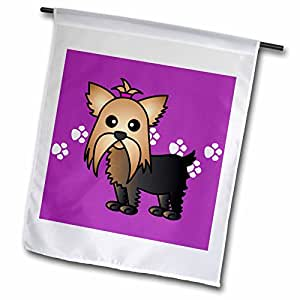 3dRose fl_10816_1 Cute Yorkshire Terrier Yorkie Purple with Paw Prints Garden Flag, 12 by 18-Inch