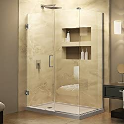 DreamLine Unidoor Plus 58 in. W x 34 3/8 in. D x 72 in. H Frameless Hinged Shower Enclosure, Clear Glass, Chrome, SHEN-24580340-01