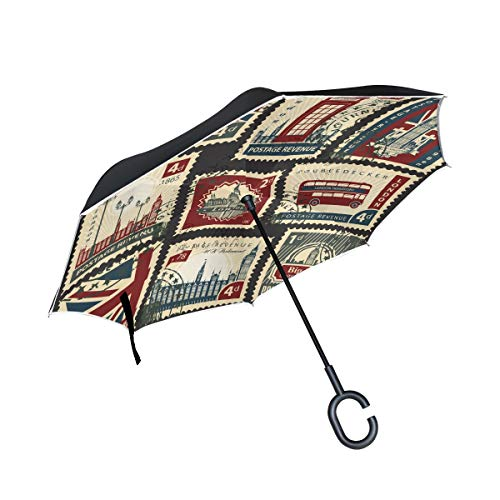 senya Reverse/Inverted Umbrellas British Postage Stamps Double Layer Big Straight Umbrella UV Protection Windproof Travel Umbrella C-Shaped Handle