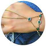 Elegant Brass Green Stone Copper Unique Hand Chain Bracelet Women Palm Jewelry with Finger Ring