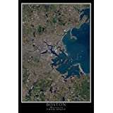 Greater Boston Massachusetts From Space Satellite Poster Map 24 x 36 inches