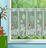 Charming Forest Animals Children Curtain Cafe net curtain with eyelets–Delicate Voile with Cute Fox and Bear–Transparent Height/B 45x100)–Windscreen for Kitchen or Bedroom Bistro Curtain/A Gem in Every Room from the Kamaca Shop