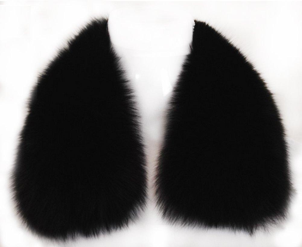 Women's Short Fox Real Fur Collar Scarf Wrap Shawl (60cm)