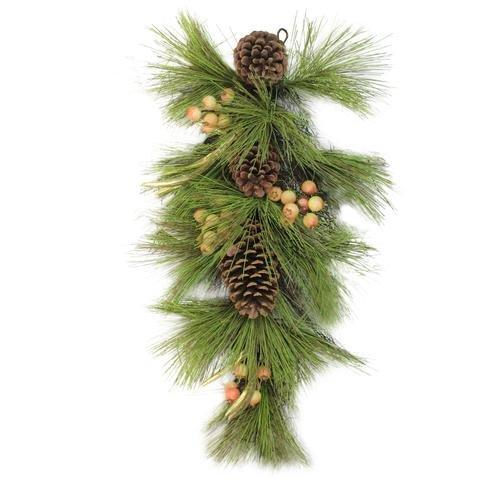 Northlight 30'' Green Pine Needles, Pinecones and Golden Antlers Teardrop Swag