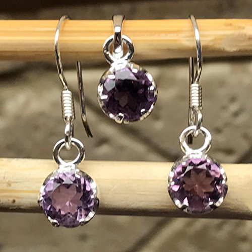 Natural 1.5ct Purple Amethyst 925 Sterling Silver Dangle Earrings and Pendant set 1.5 Ct Amethyst Pendant