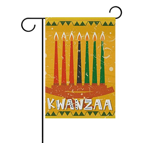 """LEISISI Seven Kwanzaa Candle Garden flag 28""""X40"""" Two Sided Y"""
