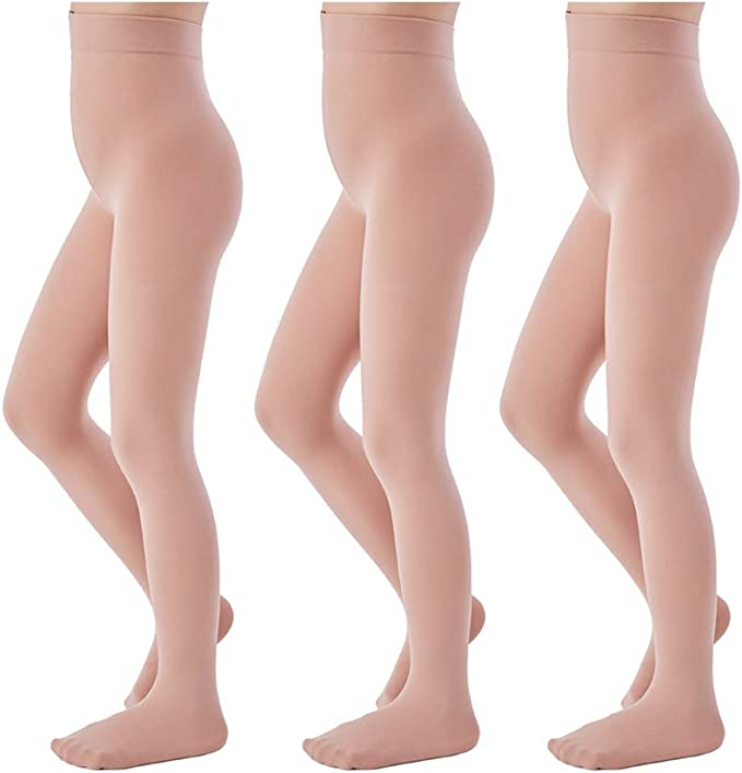 Adults Childrens Footed Ballerina Ballet Tights Seamless Shine Skin Tone Dance