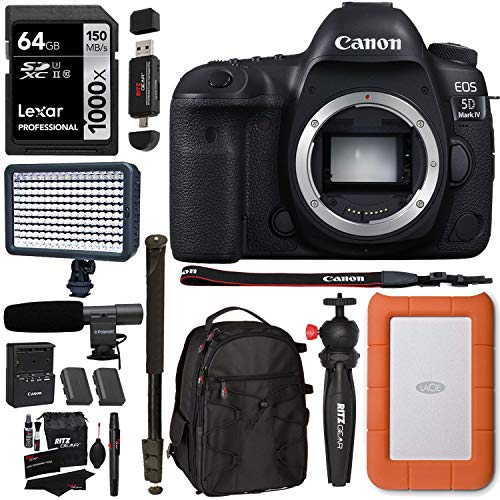 Canon 5D MkIV Pro DSLR with Lacie Rugged Mini 2 TB Drive, Lexar Professional 1000x U3 64GB SDXC Memory Card, Video Light, Mic and Accessory Bundle