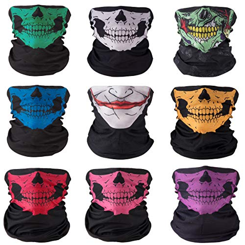 FUT 9PCS Multifunctional Headband Men Women's Magic Scarf Outdoor Sports Headwear Bandanas Face Mask for Halloween]()