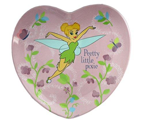 (Disney's Tinker Bell Pretty Little Pixie Kids Floral Heart Shaped Plate )