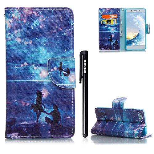 Handyhülle Huawei P8 Lite,BtDuck Kreativ Buntes Muster Tasche Brieftasche Handyhülle Ledertasche Magnetverschluss Flip Cover Schutzhülle für Huawei P8 Lite Cover Slim Brieftasche Weihnachtsgeschenke f Huawei P8 Lite-#9