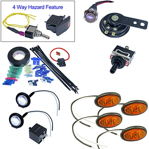 ATV UTV Turn Signal Kit - Oval Surface Mount LEDs (Horn & Install Kit, Toggle Switch)