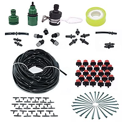 Drip Fog System, Sweet Mall Self Watering Irrigation & Misting Cooling Kit, 82ft 1/4 Hose, 5 Mist Sprayers, 25 Dripper- Irrigation Cooling System for Garden Landscape Flower Bed Patio Plants