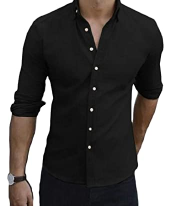 HTOOHTOOH Men Solid Shirts Slim Fit Short Sleeve Casual Button Down Shirts