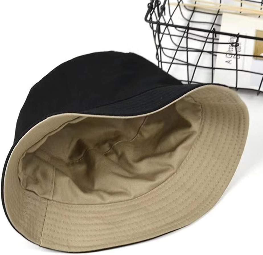 Oyov2L Fashion Women Solid Color Flat Cotton Reversible Fisherman Sun Hat Bucket Cap Soft