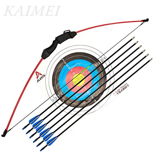 kaimei 43 Inch Recurve Bow Archery Red Limbs for Youth Beginner Practice and Outdoor Shooting Right and Left Hand with 6 Fiberglass Arrows and 2 Target -
