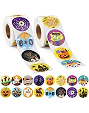 1 000 st Halloween-klistermärken, kalolär halloween runda självhäftande etiketter klistermärken nyhet diverse halloween tätningsklistermärken med 16 Halloween-mönster festgåvor för heminredning (2 rullar)