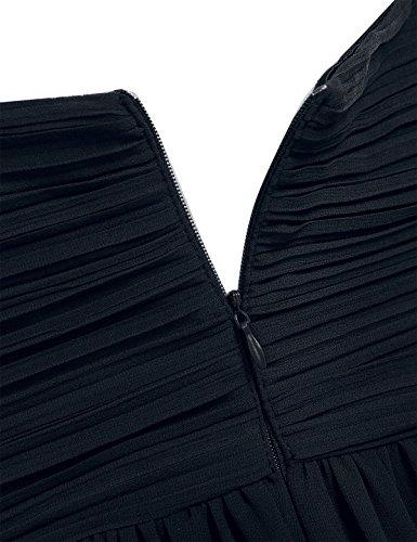 Dama Boda Cóctel Verano para de Mujer Elegante Fiesta Vestido de Negro Tirantes Vestido Freebily Honor Largo de wqtxZXY8x