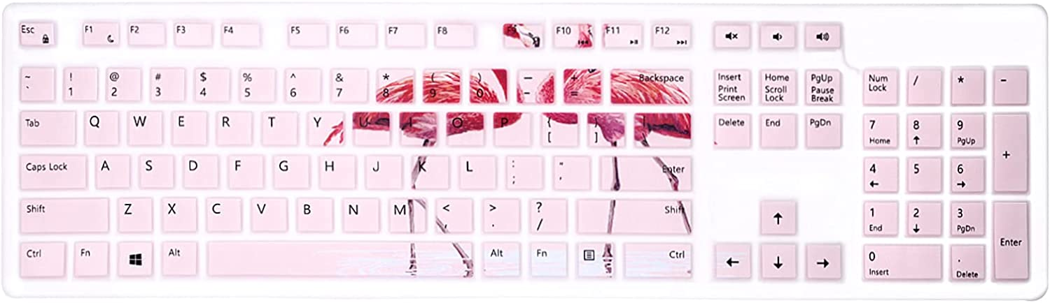 WYGCH Silicone Keyboard Cover for Dell KM636 Wireless Keyboard & KB216 Wired/for Dell Optiplex 5250 3050 3240 5460 7450 7050/Inspiron AIO 3475/3670/3477 All-in one Desktop Keyboard Skin-Flamingo