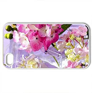 Bits of spring - Case Cover for iPhone 4 and 4s (Flowers Series, Watercolor style, White)