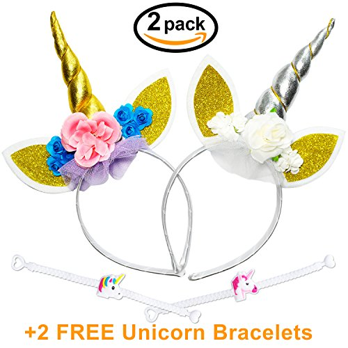Unicorn Horn Headband (2 Pack) for Girls with Glitter Ears and Flowers for Birthday Party or Halloween Costume + 2 FREE (It's Halloween Mean Girls)