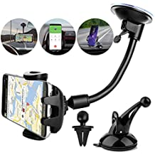 Ogaming Super 3-in-1 Car Phone Mount Holder Cradle, Universal Air Vent Dashboard Windshield Smartphone Car Mount for iPhone X 8 8 Plus 7 7 Plus 6S 6 Plus Galaxy S9 S8 Note 8 and More (Black)