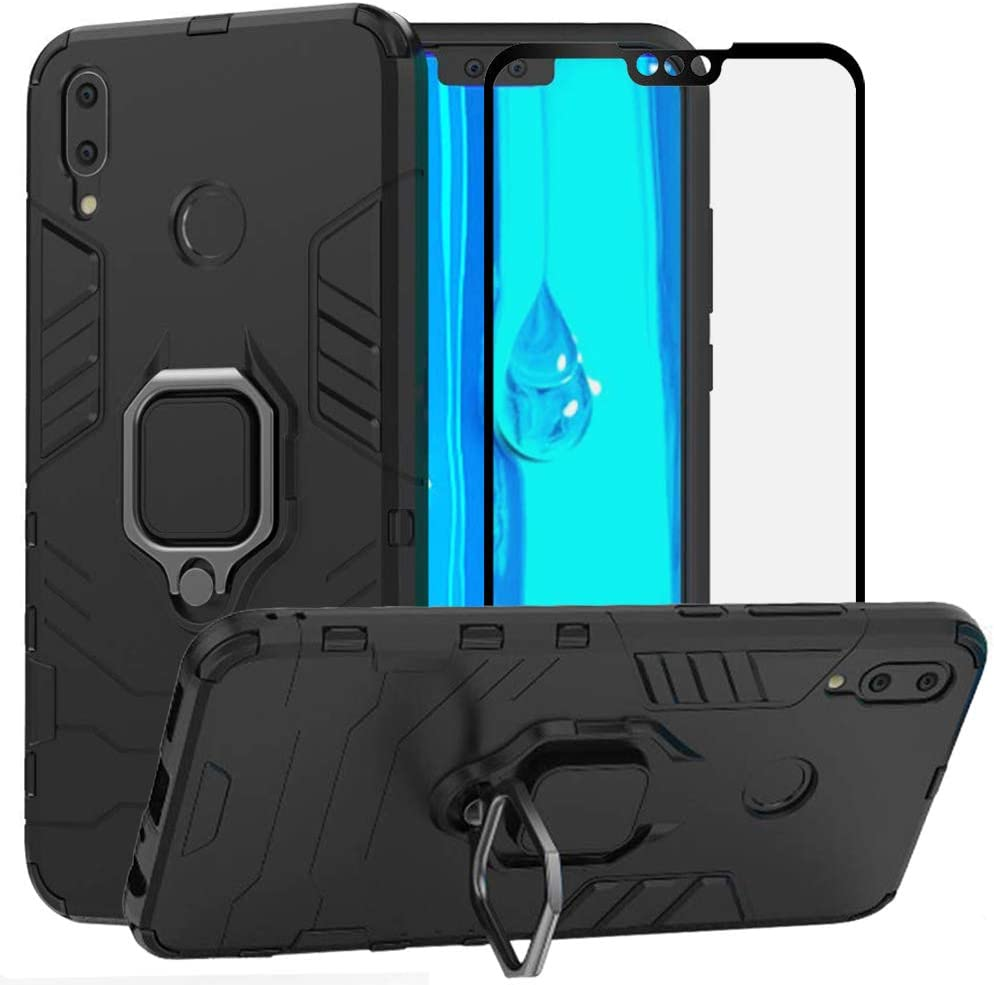 Herbests Compatible with Huawei Y9 2019 Case Wallet Mirror Case Clear View Standing Cover Women Luxury Bookstyle Anti-Scratch Shockproof Makeup Glitter Protective Flip Cover,Blue