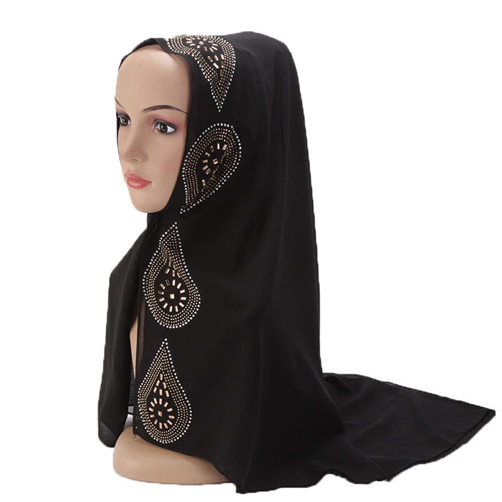Muslim Women's Sequins Rhinestones Decorated Hijabs Color 1