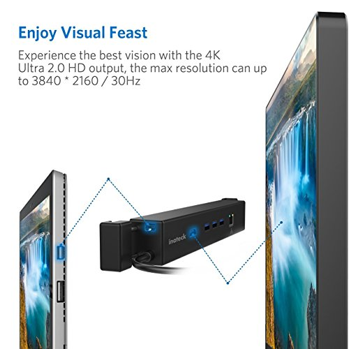 Inateck USB 3.0 Microsoft Surface Dock,USB-A Hub,HDMI 4K Ultra HD,Mini DP to HDMI Adapter,Gigabit Ethernet Port Compatbile Surface Pro4/3/,Surface 3/,New Surface Pro,with Power Adapter 5V/2A (HB9002) by Inateck (Image #2)
