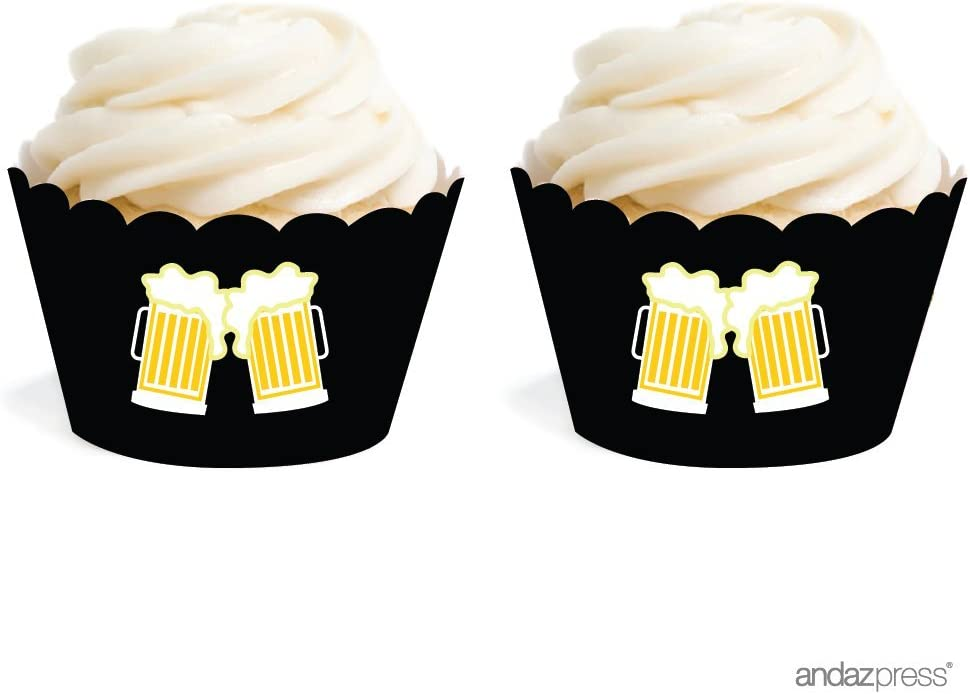 Andaz Press Birthday Cupcake Wrappers, Beer Mugs Cheers!, 20-Pack, Decor Decorations Wraps Cupcake Muffin Paper Holders