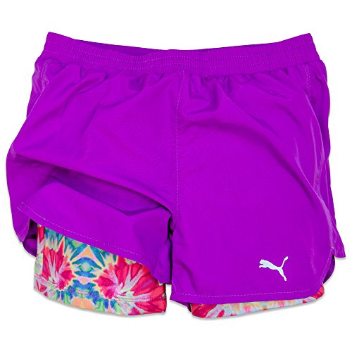 Puma Big-Girls Active Mesh Running Shorts Purple 4