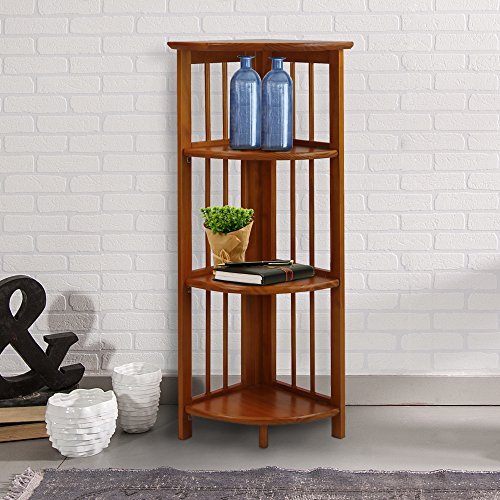 Casual Home 4 Shelf Corner Bookcase, Honey Oak