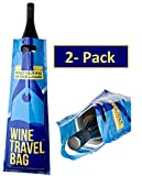 Wine Travel Bag - 2 Pack - Safe Wine Bottle Protector, Reusable, Leak Proof With Thick Padded Material Inside to Protect your Wine. 2 x Zip Locks to Avoid Spills. Pack in Luggage & Suitcase.