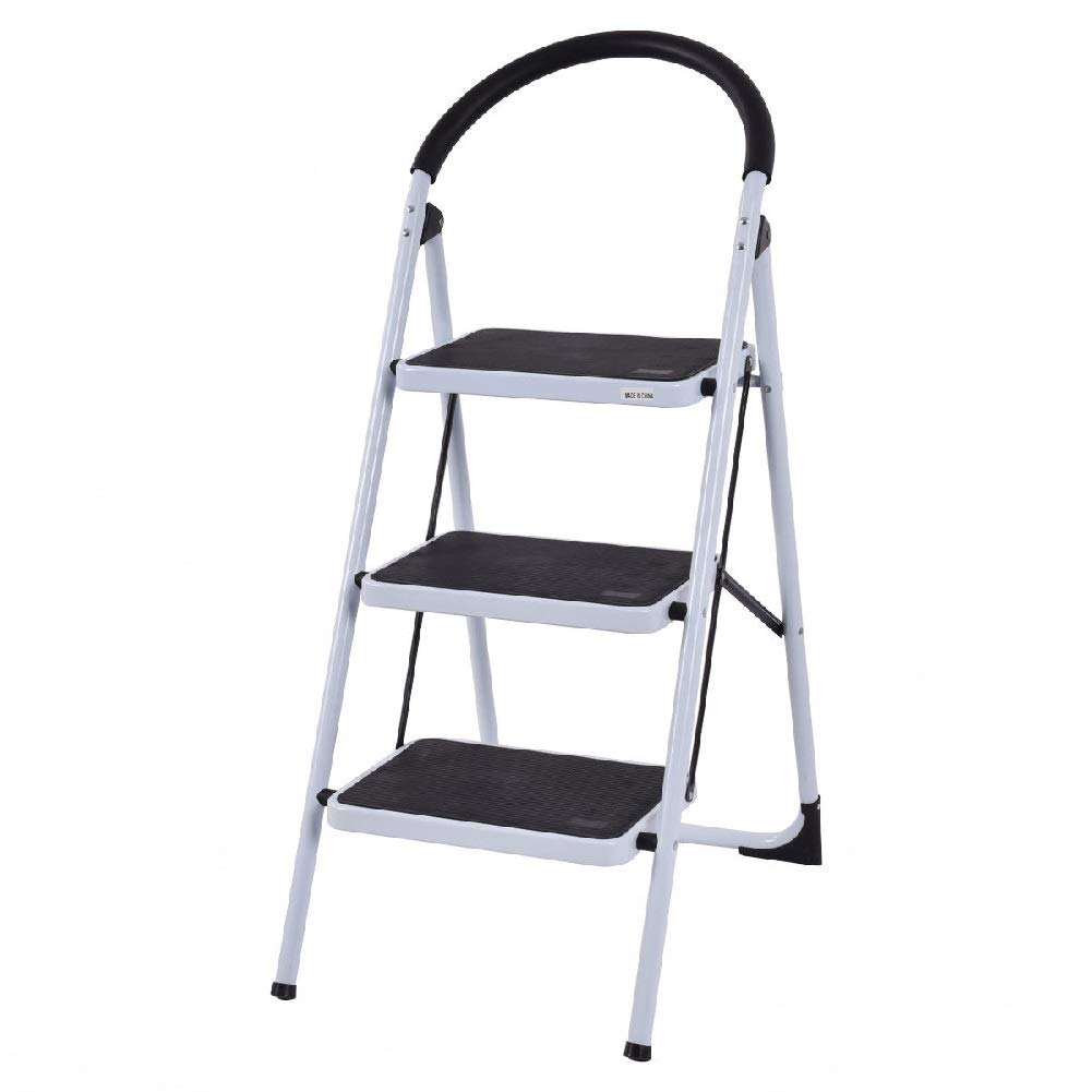 3-Step Foldable Tool Folding Ladder Lightweight Office Bathroom Stool Retail Stores Home