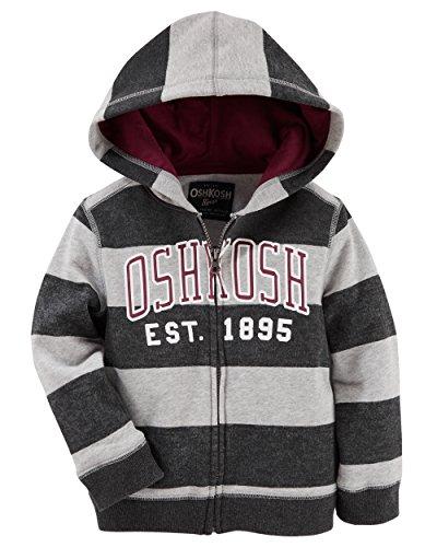 Full Zip Rugby - Osh Kosh Baby Boys' Full Zip Logo Hoodie, Grey Rugby, 9 Months