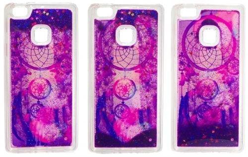 FUN CASE Traumfänger violet Dreamcatcher für Apple iPhone 5 iPhone 5S iPhone 5G iPhone 5SE Handy Cover Hülle Case Glitzer Sterne Flüssig Sternenstaub TPU