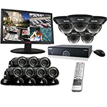 REVO America R165D5GT7GM23-8T 16 Ch. 8TB 960H DVR Surveillance System with 12 700TVL 100 ft. Night Vision Cameras & 23 Monitor